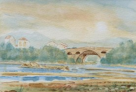 "Ref: X0001. 'PONT DU DIABLE'. Watercolour. Size: 10"" x 7"". Price: £350.00"