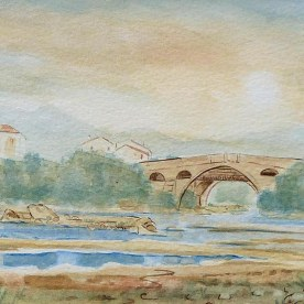 "Ref: X0001. 'PONT DU DIABLE'. Watercolour. Size: 10"" x 7"". Price: £150.00"