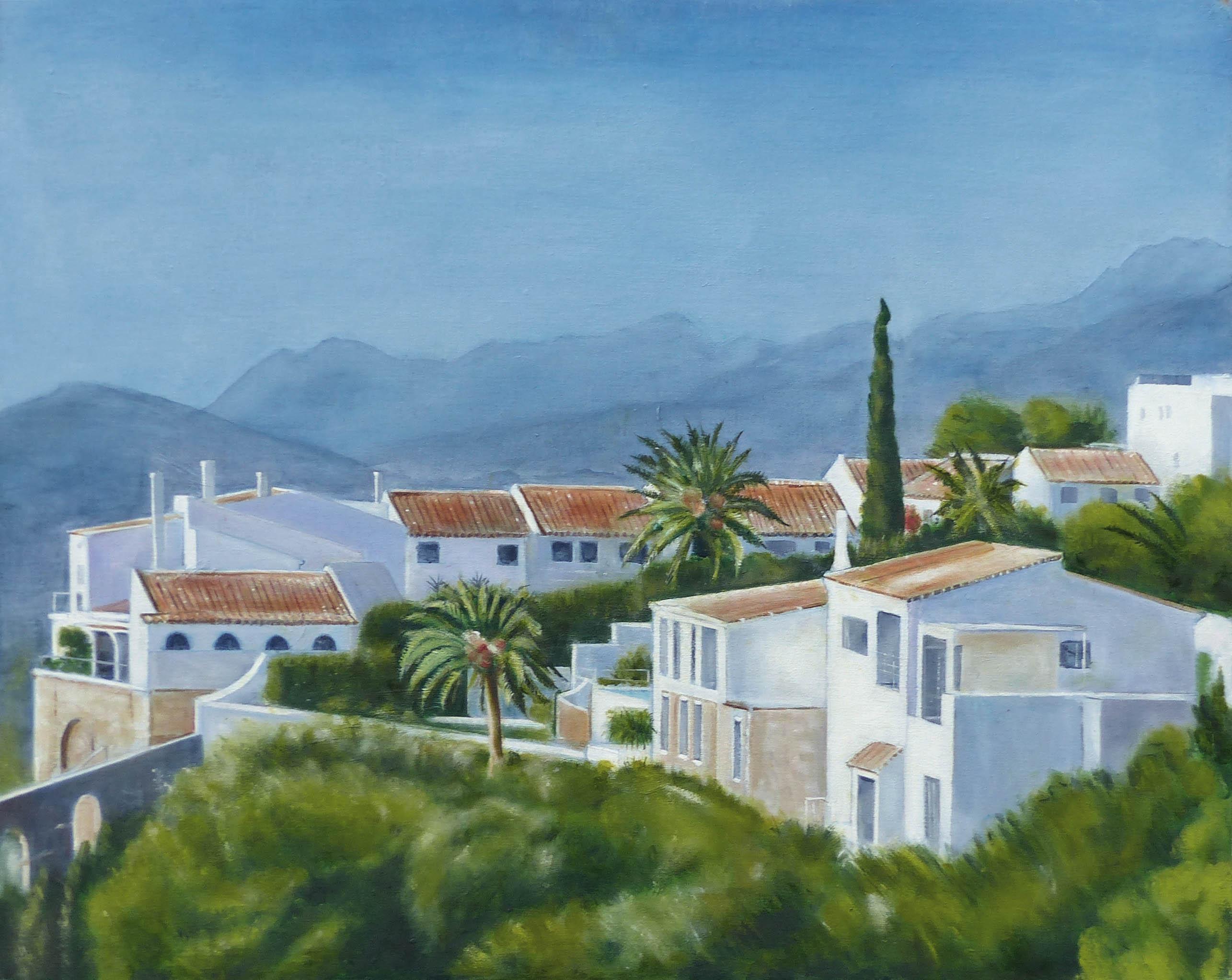 "Ref:  X0068. 'MIJAS PUEBLO'. Oils and Acrylic on Canvas. Size: 24"" x 30"". Price: £795.00"
